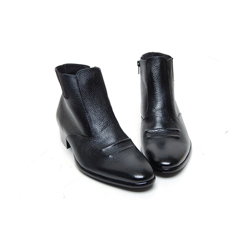 Men S Flat Round Toe Double Wrinkle Zip Side Gore Ankle Boots