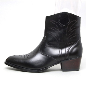 744598a5622 men's geometric stitch high heel western ankle boots