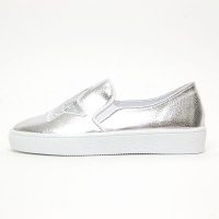 Women's White Platform Elastic Band Glitter Silver Star Spangle Synthetic Leather Silver Sneakers Shoes