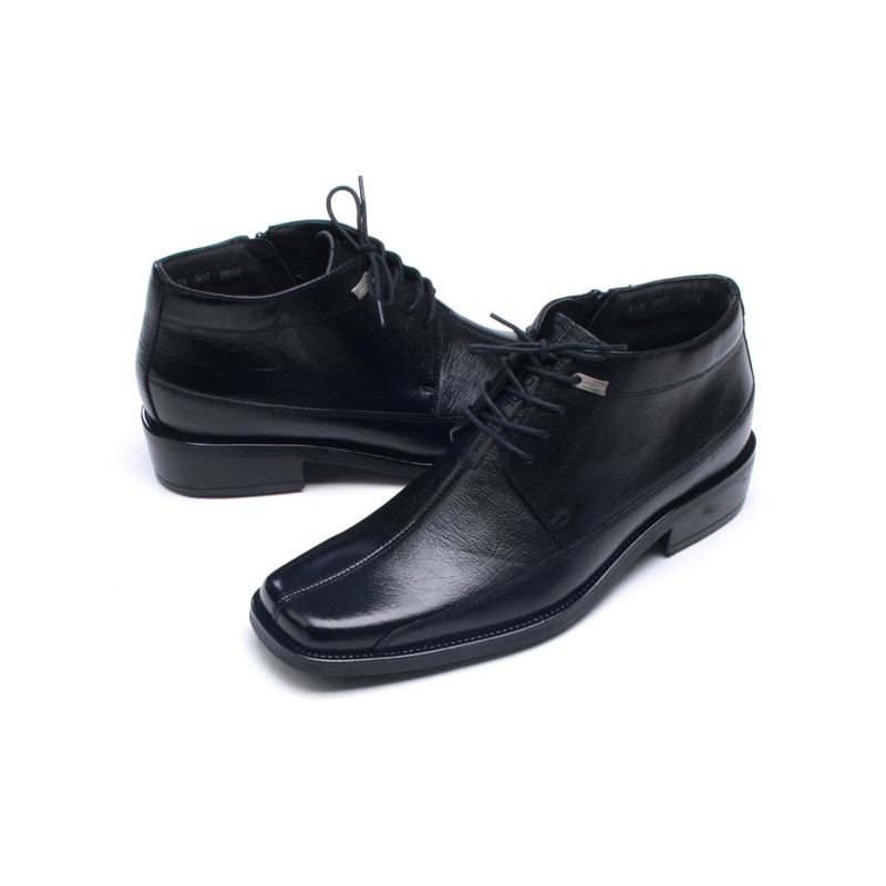 d6f2a13d2275 Men's Flat Square Toe Black Leather Lace Up Side Zip Ankle Boots
