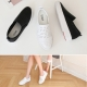 Women's high platform cubic Jewel punching synthetic leather back tap sneakers