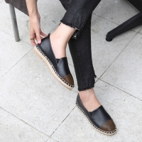 Women's synthetic leather espadrille side insert gore contrast round toe flats black khaki mustard white