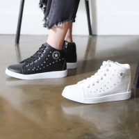 Women's cubic stud detail star side zip lace up hidden wedge insole high tops sneakers w5509