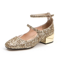 women's glitter pure golden upper two buckle strap mary jane pumps