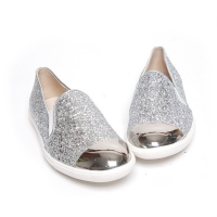 Women's glitter pure silver glossy metallic round toe low heel loafers