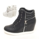Womens black white lace up zip decoration high top hidden wedge sneakers