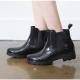Women's festival fashion glossy black synthetic PVC rain ankle boots