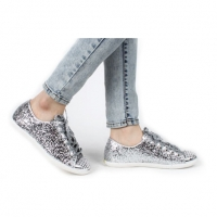 women's glitter pure silver upper sneakers lace up runway boyish  celebrity shoes