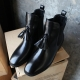 Women's synthetic leather round toe tassel fringe chelsea ankle boots