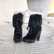 Fur High Heel Ankle Boots US7