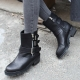 Women's synthetic leather round toe buckled med chunky combat sole walker