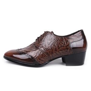 Men's wingtips open lacing high heel oxfords shoes