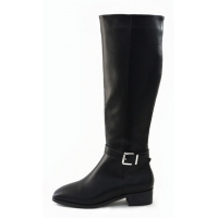Square toe mid calf low heel long boots