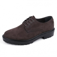 Brown synthetic suede casual shoes