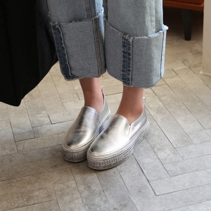 silver leather thick platform sneakers