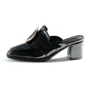 Black square toe mules