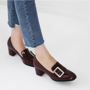 wine buckle med heel loafers dress shoes