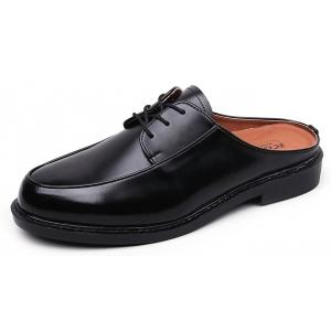 Men's Black Lace Up Comfort Oxford Mules Dress Shoes
