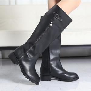 Women's Round Toe Low Heel Mid-Calf Long Boots