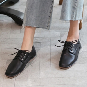Women S Black Square Toe Flat Oxford Shoes