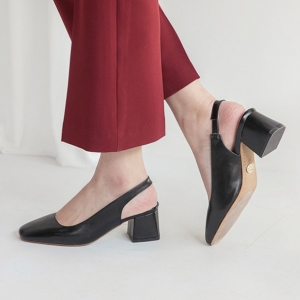 Black square toe comfort chunky heel sling back pumps