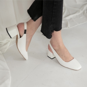 white square toe chunky heel slingback pumps shoes
