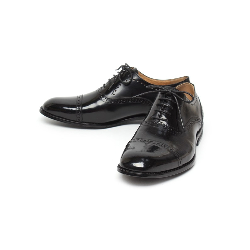 Men S Cap Toe Black Leather Closed Lacing Oxford Dress Shoes