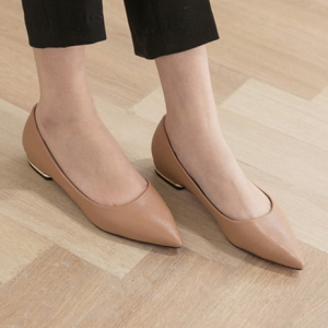 Beige Pointed Toe Gold Line Block Low Heel Pumps
