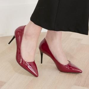 Wine Pointed Toe Black Stiletto High Heel Pumps