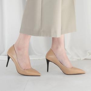 Beige Pointed Toe Black Stiletto High Heel Pumps