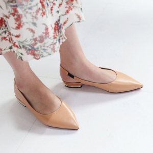 Women's Beige Pointed Toe Block Low Heel Slingback Pumps