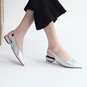 Women's Silver Pointed Toe Block Low Heel Slingback Pumps