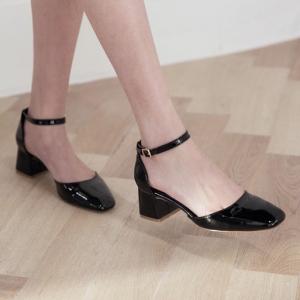 Women's Glossy Square Toe Belt Strap Block Heel Mary Jane Pumps