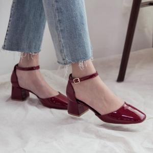 Women's Glossy Wine Square Toe Belt Strap Block Heel Mary Jane Pumps