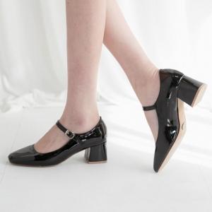 Women's Square Toe Front Belt Strap Block Med Heel Mary Jane Pumps