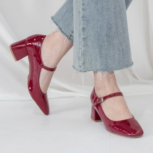 Women's Glossy Wine Square Toe Front Belt Strap Block Med Heel Mary Jane Pumps