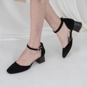 Women's Suede Square Toe Belt Strap Med Heel Mary Jane Pumps