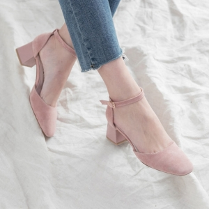 Women's Pink Suede Square Toe Belt Strap Med Heel Mary Jane Pumps