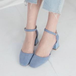 Women's Blue Suede Square Toe Belt Strap Med Heel Mary Jane Pumps