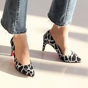 Women's Pointed Toe Giraffe Pattern Glitter Silver High Heel Pumps