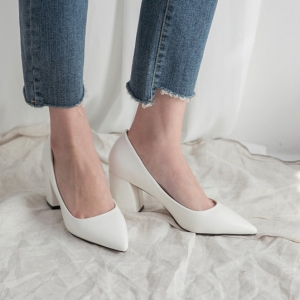 Women's White Pointed Toe Chunky Block Med Heel Pumps