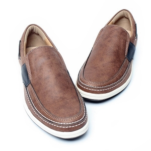 Men's Brown Round Toe Padding Entrance Slip On Loafer Casual Shoes