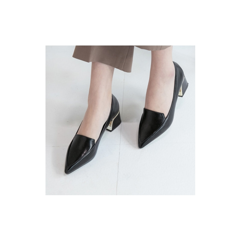 b0c868ddd Women's Pointed Toe Comfort Chunky Heel Loafer Shoes