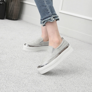 Women's Silver Thick Platform Slip On Loafer Sneakers