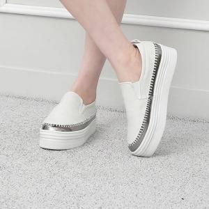 Women's White Thick Platform Slip On Loafer Sneakers