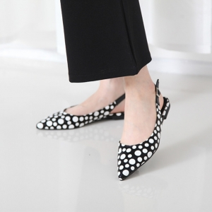 Women's Pointed Toe Polka Dot Belt Strap Block Low Heel Slingback Pumps Shoes