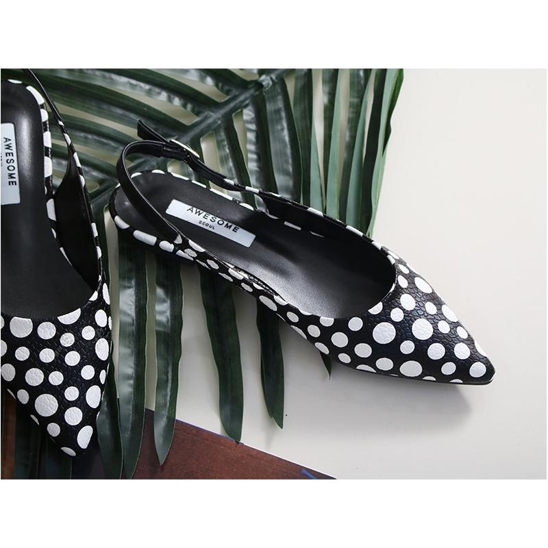 Women S Pointed Toe Polka Dot Belt Strap Block Low Heel