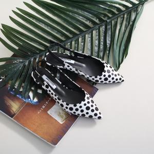 Women's White Pointed Toe Polka Dot Belt Strap Block Low Heel Slingback Pumps Shoes