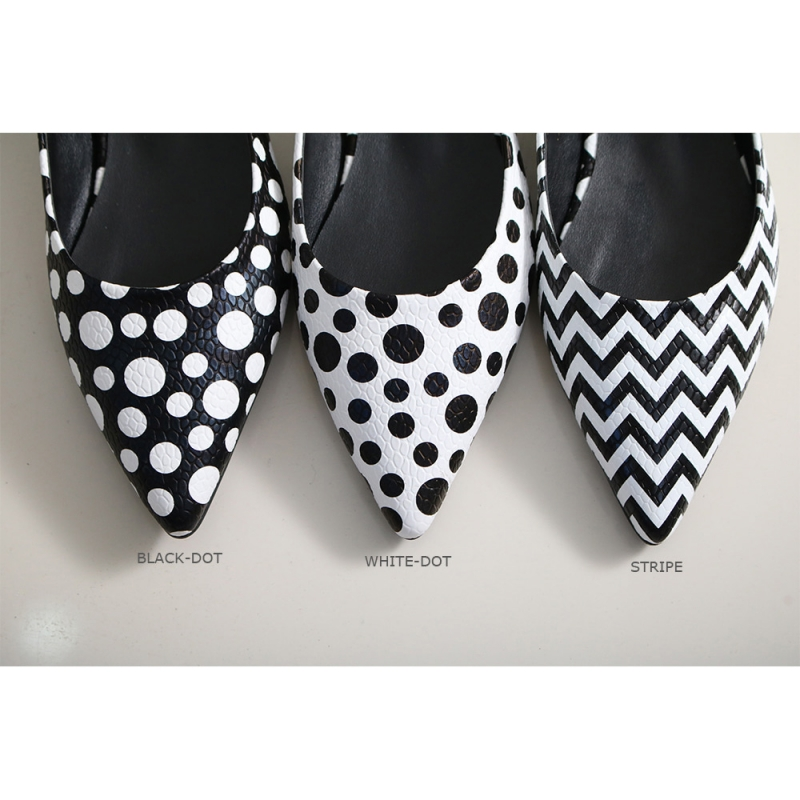 Women S White Pointed Toe Polka Dot Belt Strap Block Low