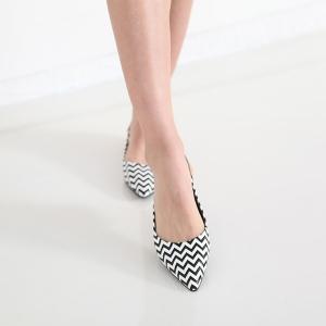 Women's Polygonal Line Stripe Geometric Pattern Pointed Toe Polka Dot Belt Strap Block Low Heel Slingback Pumps Shoes